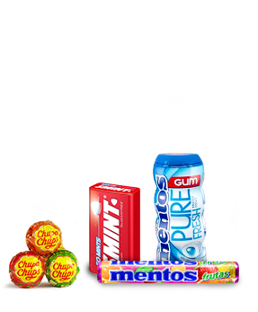 An image showcasing some of our products – Chupa Chups, Alpenliebe and Mentos